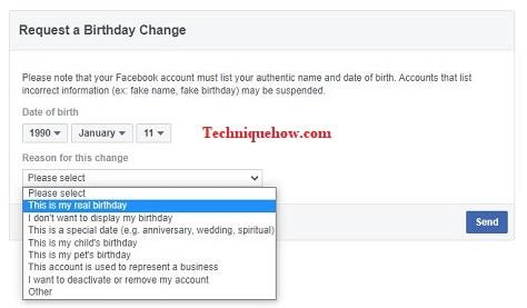 change birthday facebook after limit