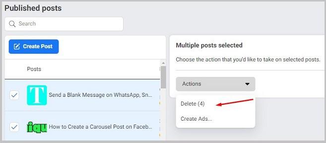 delete facebook page posts