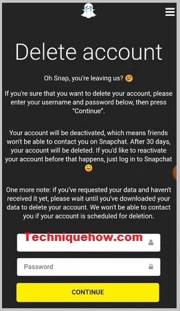 Delete Snapchat account final