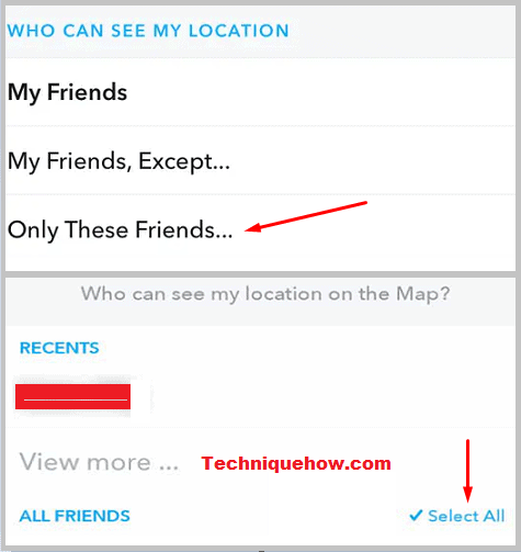 Snap Map friends select all