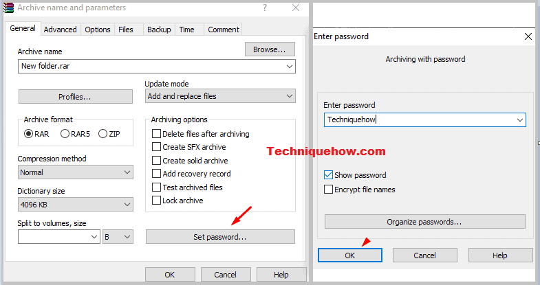 set password folder