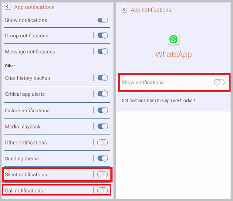 turn off whatsapp calls notifications