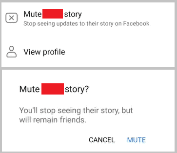 Mute someone facebook story
