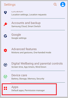 apps settings for notifications