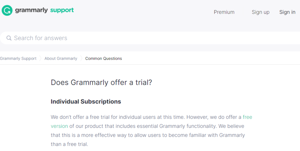 does grammarly offer free trial