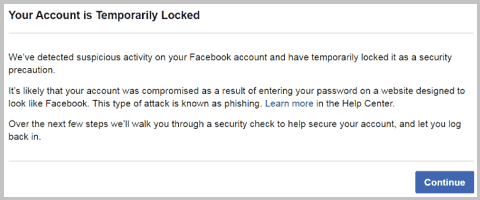 temporarily locked facebook