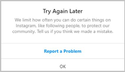 we limit_Instagram error