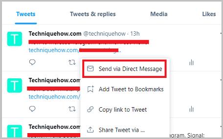 Request Share tweet direct message