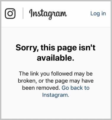 instagram profile not found error