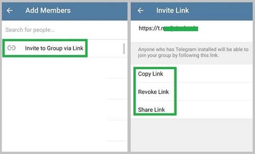 share invite-link-Telegram