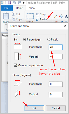 to lower size in paint