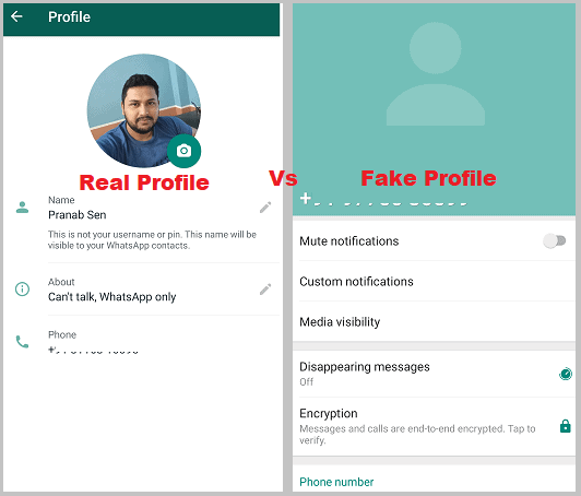 fake whatsapp or real profile