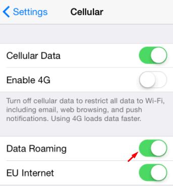 turn on data roaming iphone