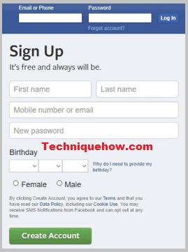 facebook account create