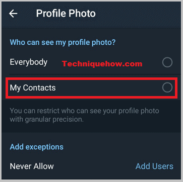telegram Dp contacts only