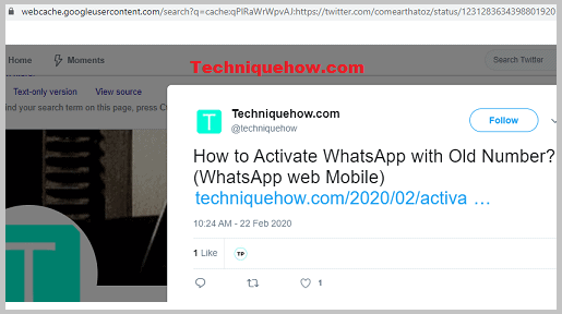tweets visible on google cache