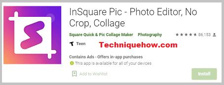 InSquare photo editor app