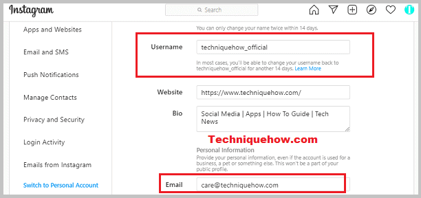 change username and email IG
