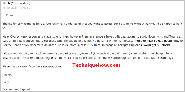 course Hero team replied free access