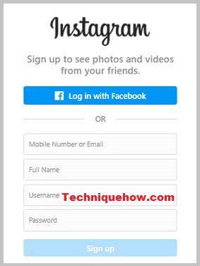 sign up on instagram