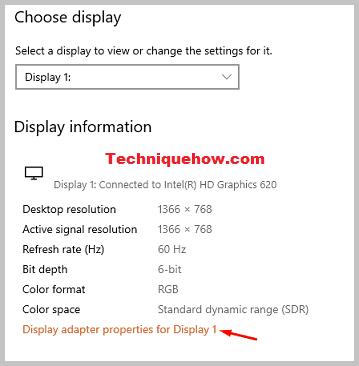 display adapter settings windows 10