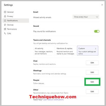 get notified on Microsoft Teams settings