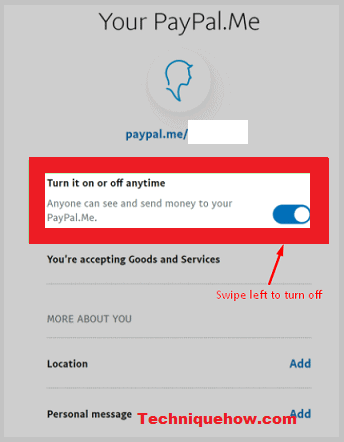 paypal link disable