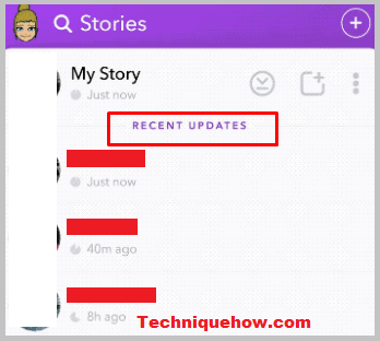 snapchat story section