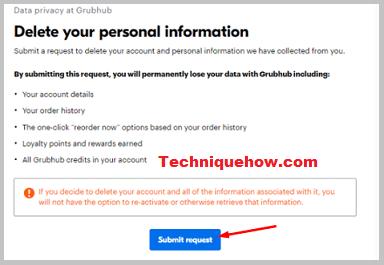 submit request delete grubhub