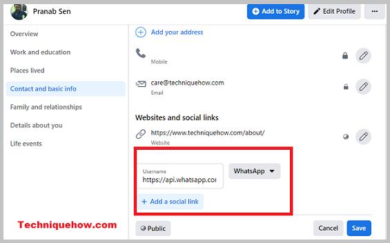 whatsapp link on profile