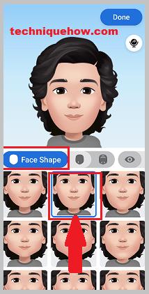 face shape option for avatars