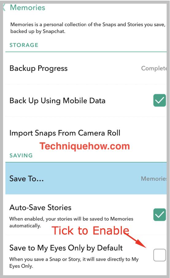 Snapchat settings memories