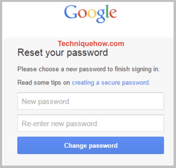 reset google password